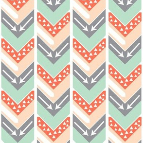 Coral, Blush, Grey, Mint Arrow Chevron - Triangles and Arrows