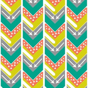 Coral, Teal, Chartreuse, Grey Arrow Chevron - Arrows and Triangles