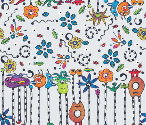 monster doodle do fabric by liluna on Spoonflower - custom fabric