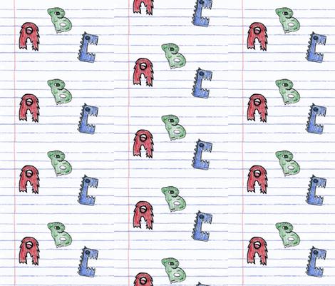 Crayon Alphabet Monsters fabric by dexlarprice on Spoonflower - custom fabric