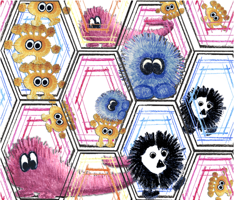 monsterfabric_0001_with_monsters fabric by subtlegracedesignstudio on Spoonflower - custom fabric