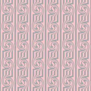 Pink Grey Swirly Stripes