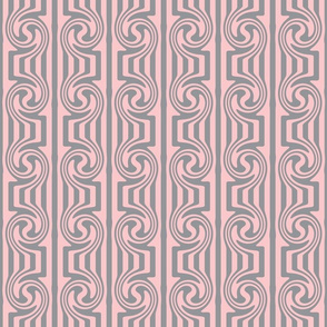Pink Grey Mixed Swirly Stripes