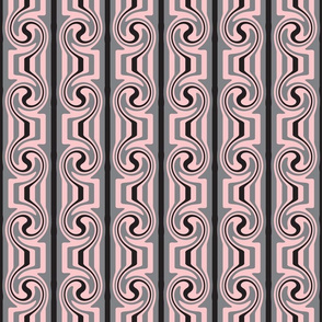 Art Nouveau Pink Grey Black Swirly Stripes