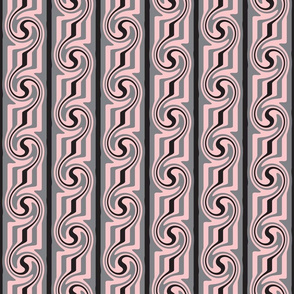 Pink Grey Black Swirly Stripes