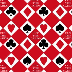 Chinese Paper - Cut the Cards 4-suit colors Red Background