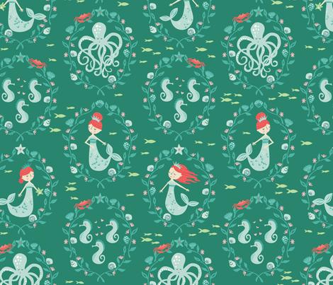 Mermaid_Cameo_closed_eyes fabric by stacyiesthsu on Spoonflower - custom fabric