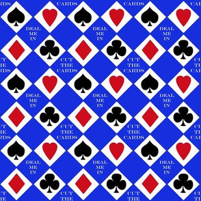Cut the Cards 4 suit colors Blue Background