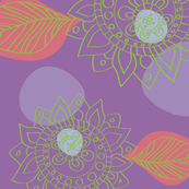Moroccan Henna Flower Pattern Purple Lime Green & Coral