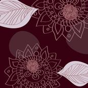 Moroccan Henna Flower Pattern Burgundy Wine & Pink