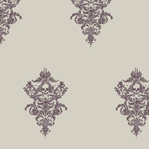 Gothiclysm's Skull Damask in Soft Heather
