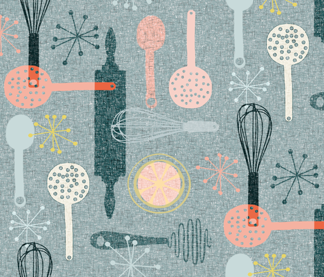 Baking on barkcloth fabric by nouveau_bohemian on Spoonflower - custom fabric