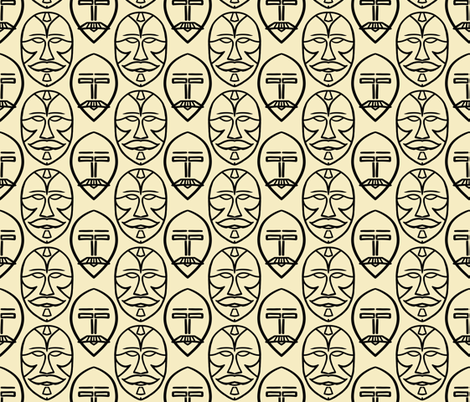 Mustaches in masks on ecru fabric by su_g on Spoonflower - custom fabric