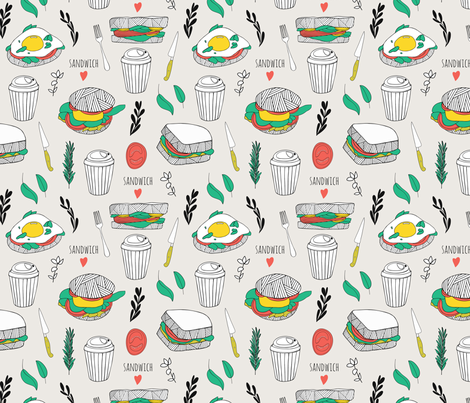 Sandwich love fabric by rinomonsta on Spoonflower - custom fabric