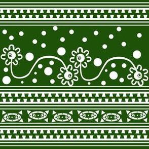 Aztec Zipper Flower Tangle Green