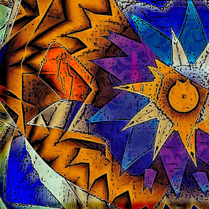 Gold Blue Sun Abstract