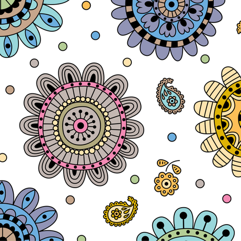 Summer Flower Earthy fabric by andibird on Spoonflower - custom fabric