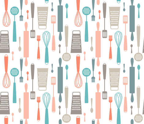 Kitchen utensils fabric by heleenvanbuul on Spoonflower - custom fabric
