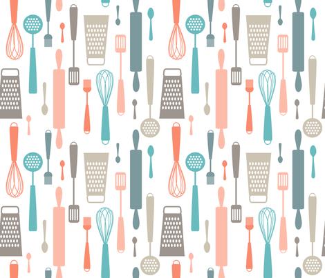 Kitchen utensils fabric by heleenvanbuul on Spoonflower - custom fabric