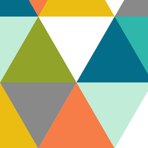 Triangles - boy orange, green, teal, gray