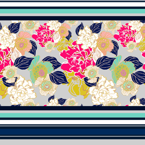 Jungle Passion Navy for wallpaper border fabric by joanmclemore on Spoonflower - custom fabric