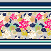 Jungle Passion Navy for wallpaper border