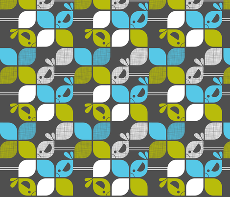 Mod birds 90 rotation fabric by cjldesigns on Spoonflower - custom fabric