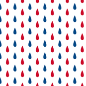Small Red White and Blue Raindrops