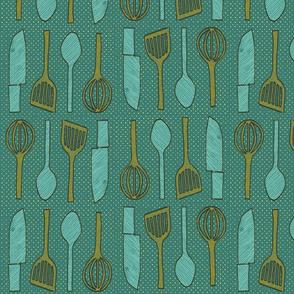 utensils petroleum blue