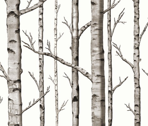 Smaller Scale Birch Grove in Warm Grey and Linen White fabric by willowlanetextiles on Spoonflower - custom fabric