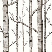Birch Grove in Warm Grey and Linen White