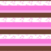 Stripes - Choc Chip Ice Cream - Pink and Brown with Pink Chips