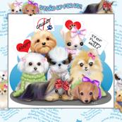 Puppies Manifesto Quilt Panel