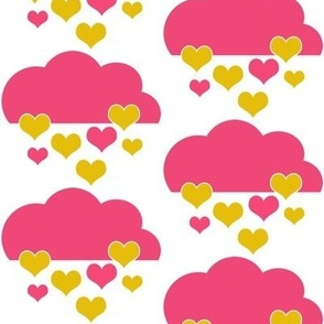 Pink & Yellow Heart Drops and Clouds