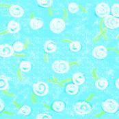 Crayon dandelions on aqua