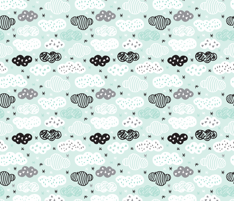 geometric pastel sleepy blue sky cloud pattern fabric by littlesmilemakers on Spoonflower - custom fabric