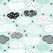 geometric pastel sleepy blue sky cloud pattern