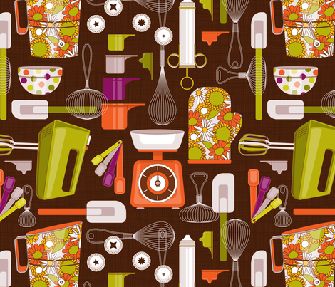 baking utensils fabric by cjldesigns on Spoonflower - custom fabric