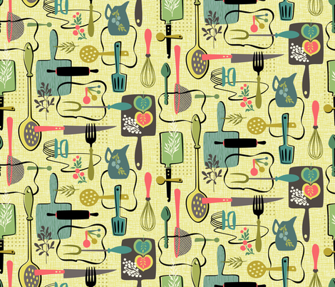 Kitsch-N-Mixer Utensils fabric by sheri_mcculley on Spoonflower - custom fabric
