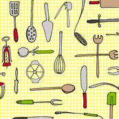 essential utensils on yellow gingham