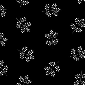 Berries Pattern White on Black