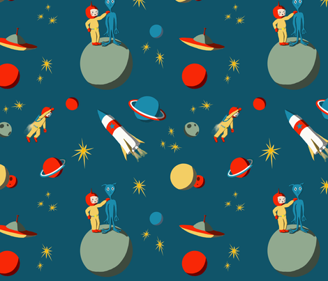 Intergalactic Adventure fabric by redbicycle on Spoonflower - custom fabric