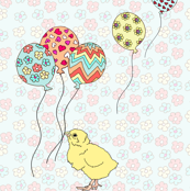 Baby Chick with Balloons