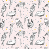 Geo Birds (in Blush + Gold)