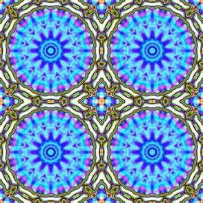 Blue Cactus Kaleido Pattern