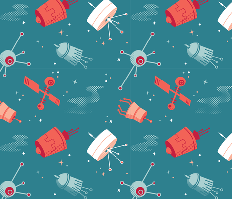 sixties satellites fabric by erinclair on Spoonflower - custom fabric