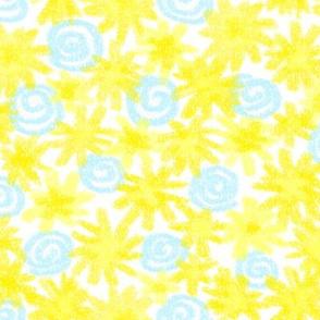 Crayon yellow & white dandelions