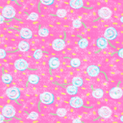 Crayon dandelions on pink