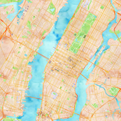 NYC Manhattan Midtown Watercolor Map