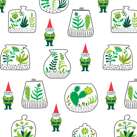 Terrarium and Gnomes too fabric by andibird on Spoonflower - custom fabric